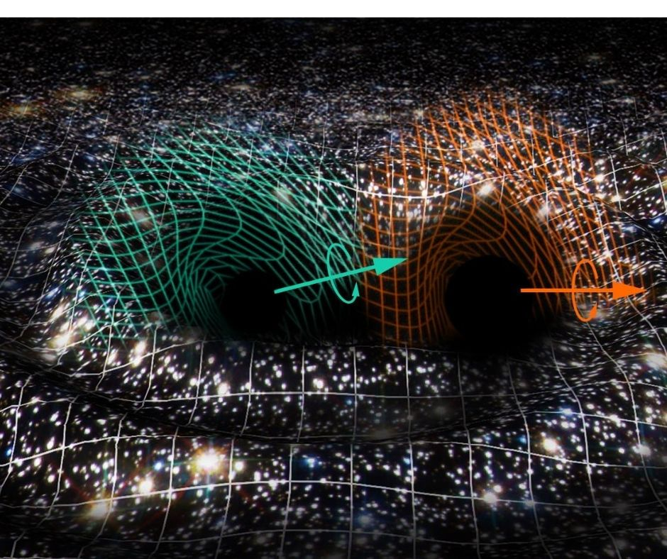 Artistic interpretation of the binary black hole merger responsible for GW190521. The space-time, figured by a fabric on which a view of the cosmos is printed, is distorted by the GW190521 signal. The turquoise and orange mini-grids represent the dragging effects due to the individually rotating black holes. The estimated spin axes, or self-rotations, of the black holes are indicated with the corresponding colored arrows. The background suggests a star cluster, one of the possible environments where GW190521 could have occurred. Credits: Raúl Rubio / Virgo Valencia Group / The Virgo Collaboration.